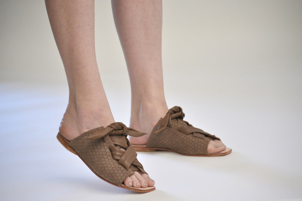 The Palatines Texo sandal - bark hex leather with shiny bark ties