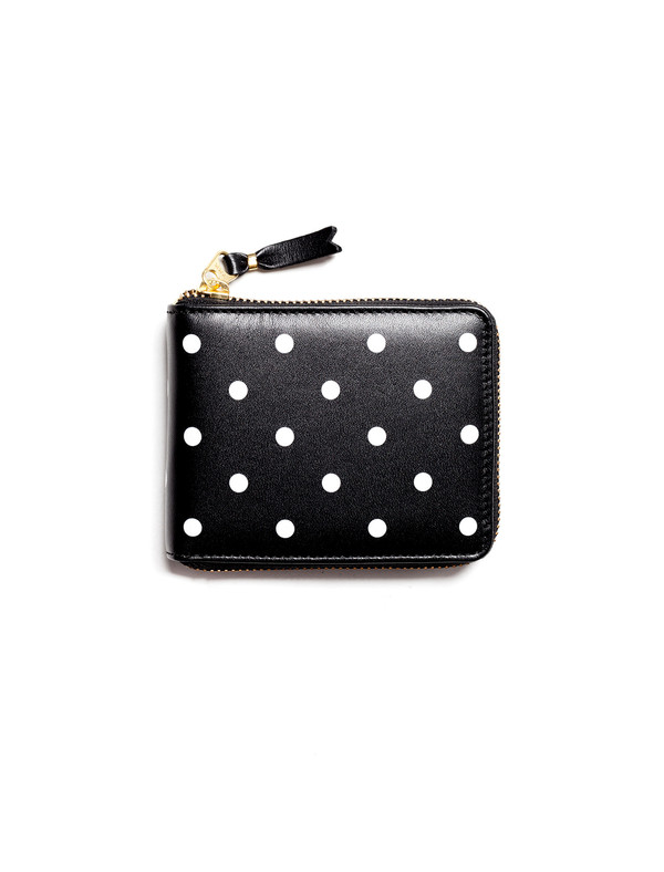 Comme des Garcons Polka Dots Printed Small Full Zip Wallet - Black