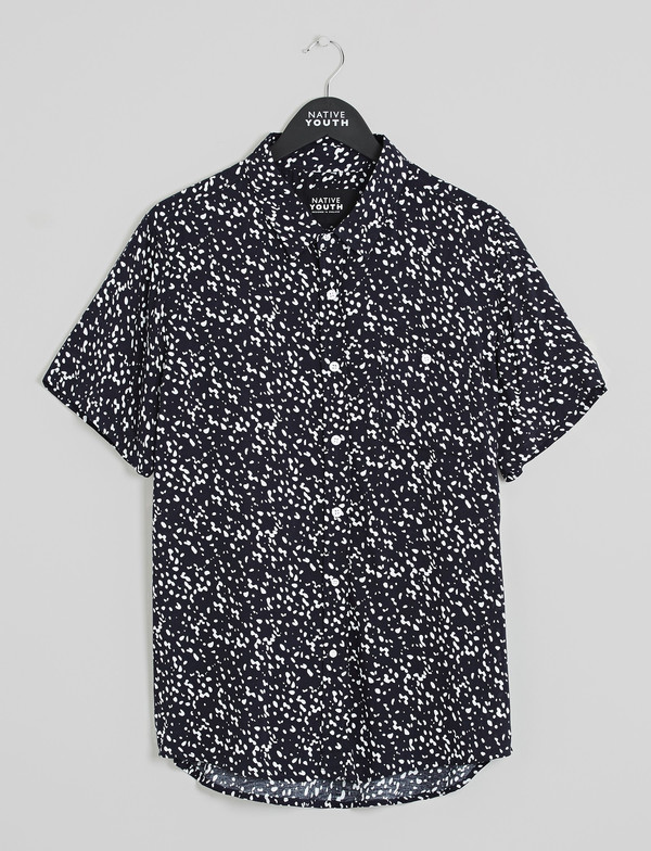 Men's Native Youth Ink Blot Print Short Sleeved Shirt
