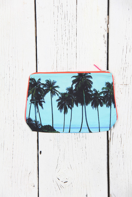 Dezso by Sara Beltran VINTAGE MALDIVES AQUA PALM CANVAS POUCH
