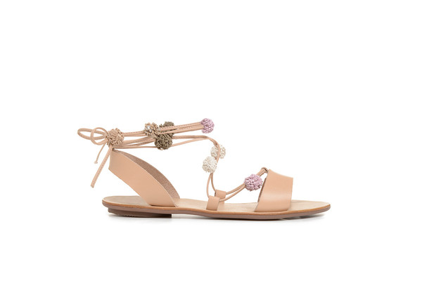 Loeffler Randall Saskia Pom Pom Lace Up Sandals