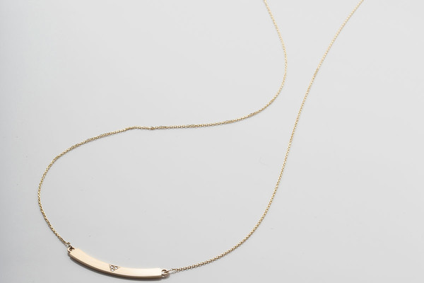 Jennie Kwon Designs White Diamond Curved Bar Necklace