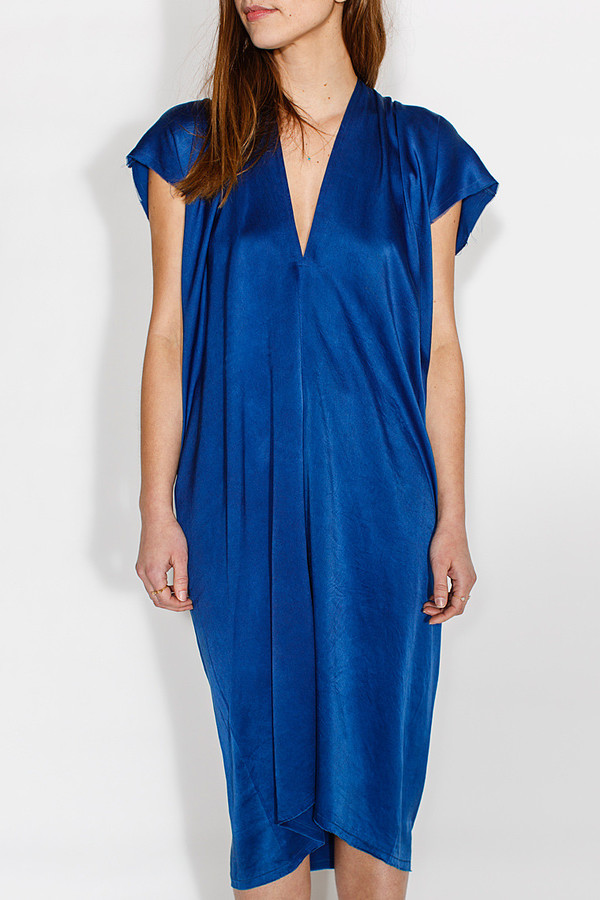 Miranda Bennett Everyday Dress, Silk Charmeuse in Indigo