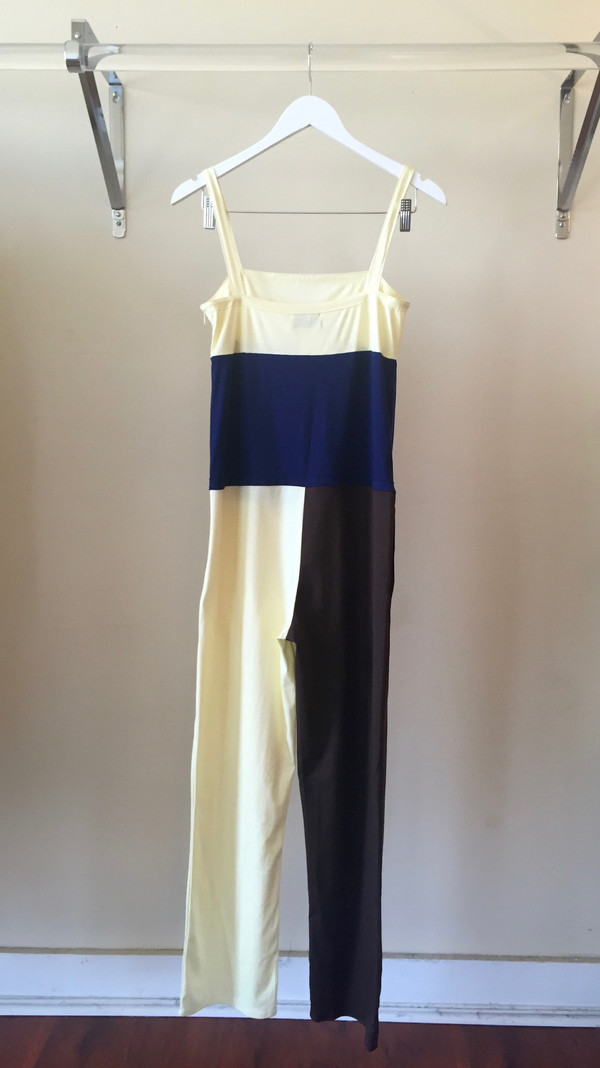 Maryam Nassir Zadeh Franca Jumpsuit in Navy/Cream/Chocolate