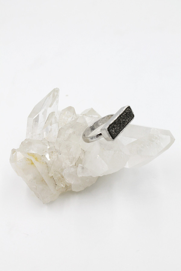 Sheila B Pewter Druzy Bar Ring