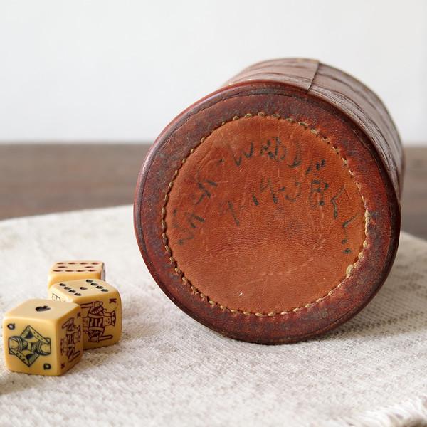 Erica Tanov leather dice cup set