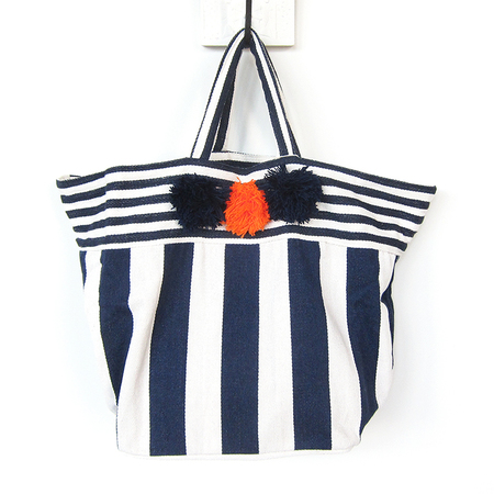 Jade Tribe Valerie pom pom beach bag - navy