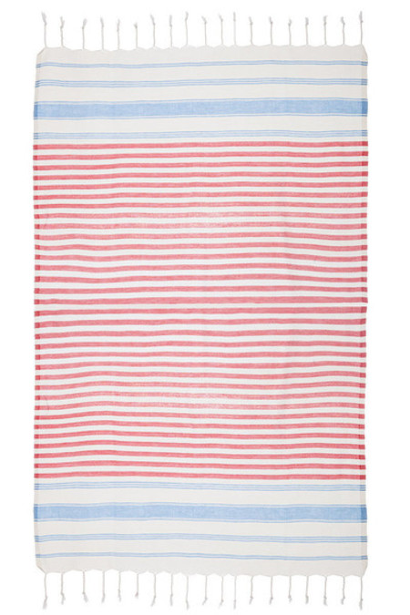 TAMA TOWELS / FOUTA BUNGALOW - ROUGE TURQUOISE