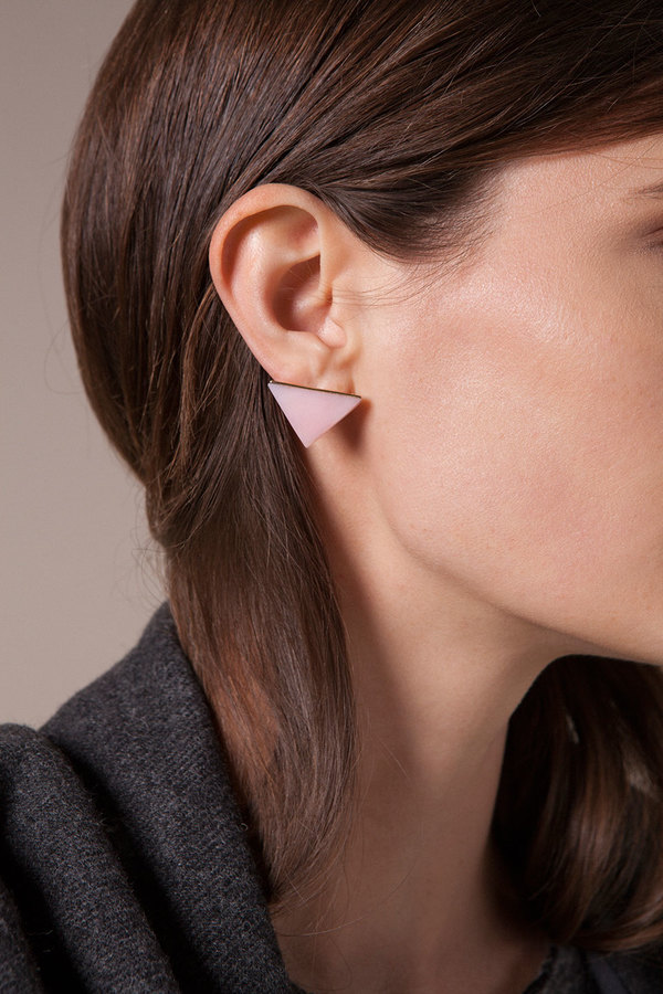 Kathleen Whitaker Pink Opal Triangle Studs