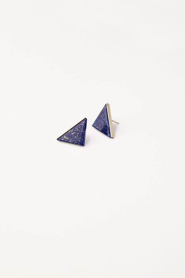 Kathleen Whitaker Lapis Triangle Studs