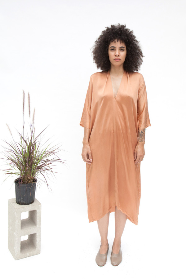 Miranda Bennett Muse Dress, Silk Charmeuse in Sand