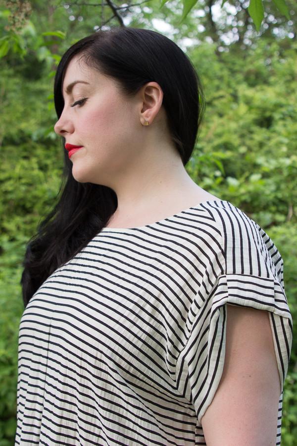 Amanda Moss Striped Crew Dress (Ivory Stripe)