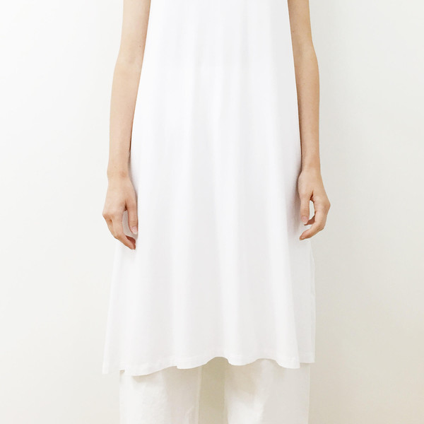 Shelby Steiner White Sleeveless T Shirt Dress