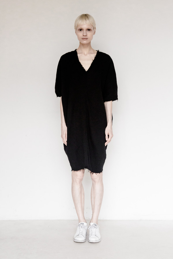 Black Crane Cotton Gauze Origami Dress
