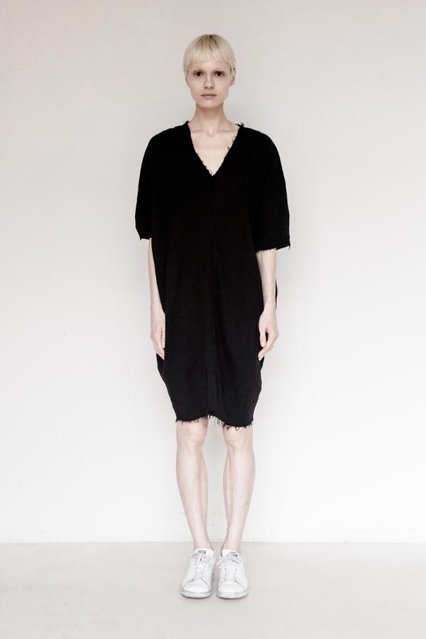Black Crane Cotton Gauze Origami Dress