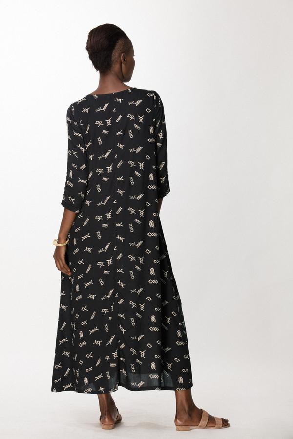 Osei-Duro Nima Long Dress in Black Jot