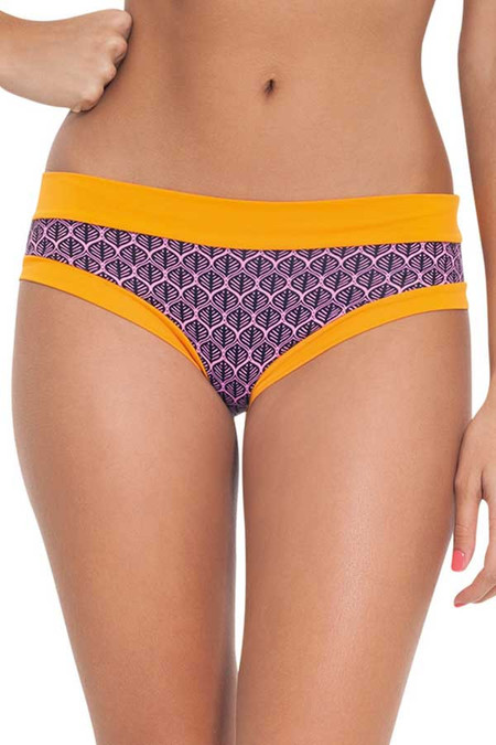 Estivo Hojas Bikini in Pink with Yellow Orange Outline BOTTOMS