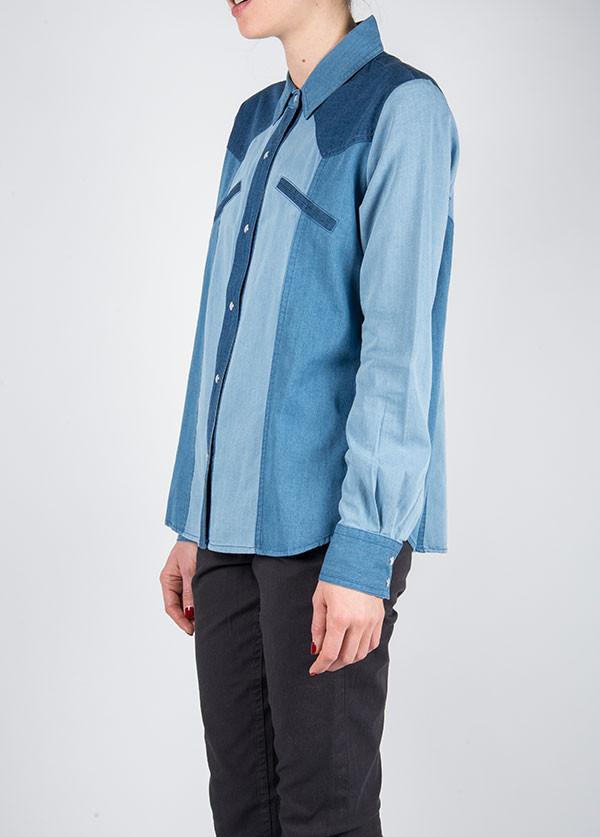 Ganni - Trois Bleus Top in Denim Blue