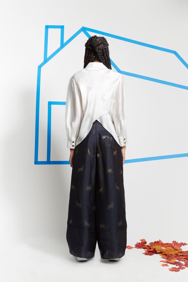 Steven Tai Devoré Floor Length Trousers