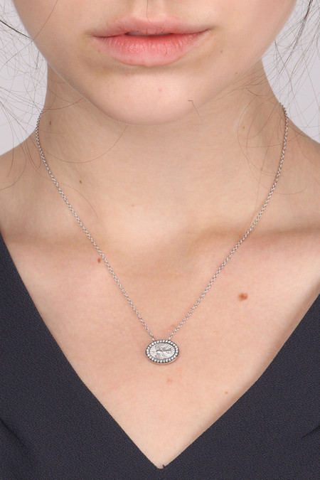 Oliver Kelly Mini Dove W/ White Diamond Necklace