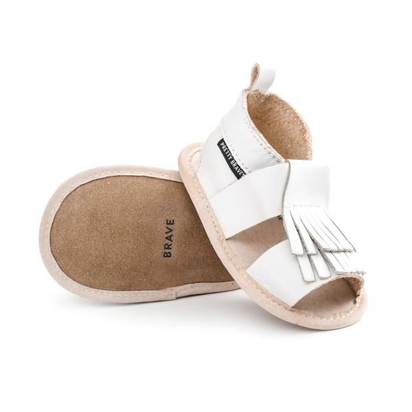 Pretty Brave Fringe Sandals White