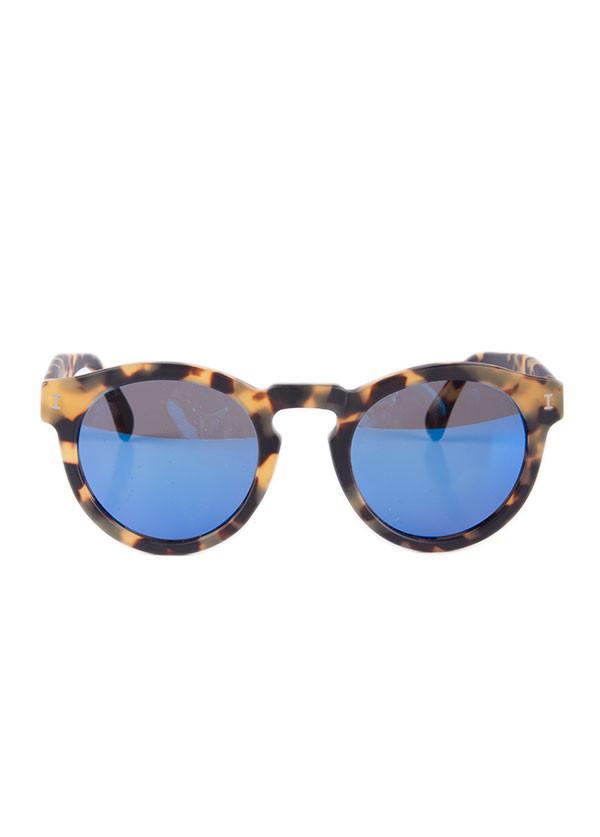 Illesteva - Leonard in Matte Tortoise with Blue Mirrored Lenses