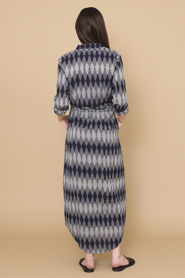 Osei-Duro Casta Dress in Navy Ikat