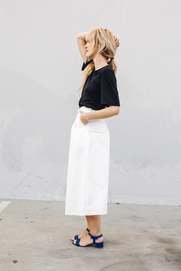 Objects Without Meaning Denim Patch Skirt, White