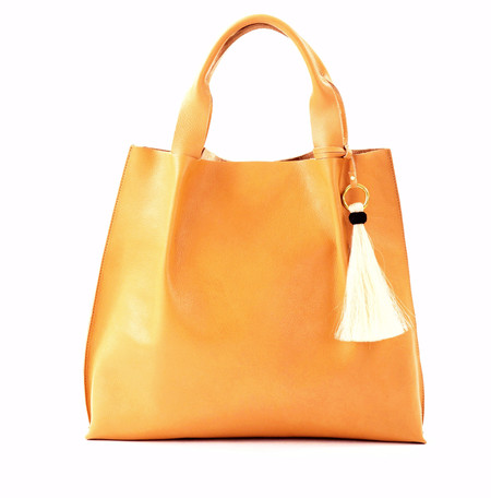 OLIVEVE maggie tote in butterscotch leather with horsehair tassel