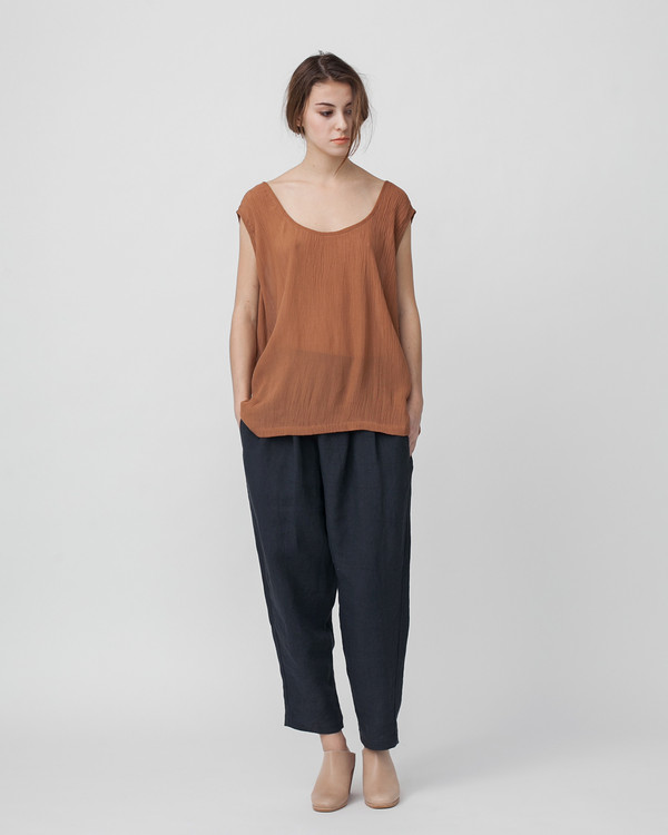 Revisited Matters Crushed Cotton Tank in Sienna