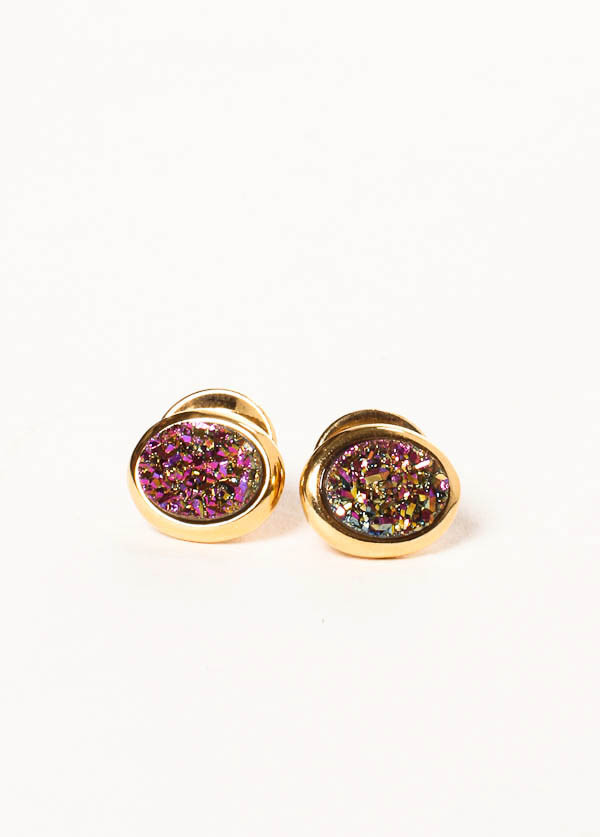 Marcia Moran - Tiny Oval Stud in Gold with Multi Color Druzy Stone