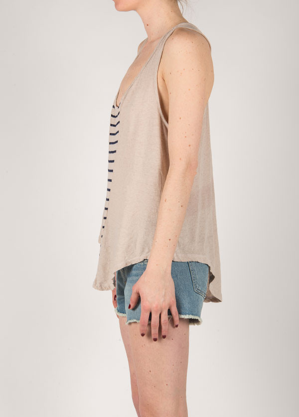 My Line - Ivy Deep V Tank in Stone