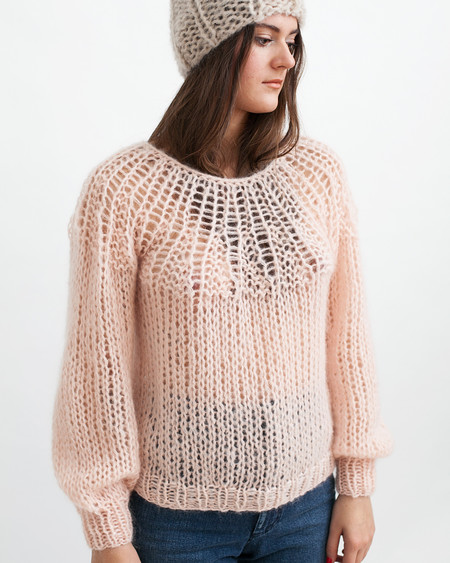 Maiami Mohair Pleated Sweater in Nude