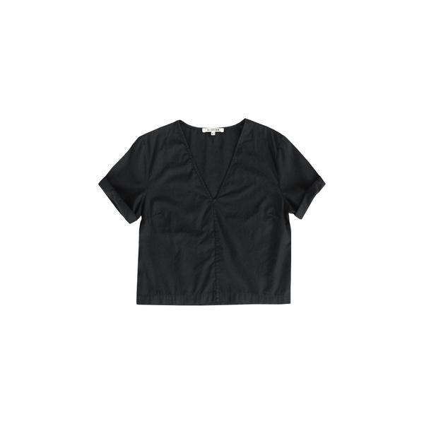 ALI GOLDEN V-NECK TOP - BLACK