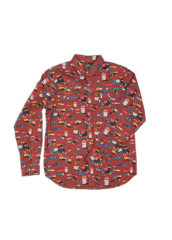 Men's Obey - City Hunt Shirt in Burnt Henna
