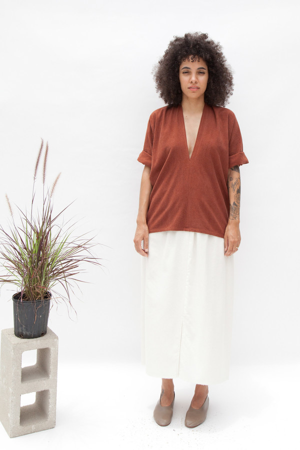 Miranda Bennett Muse Top, Silk Noil in Rust