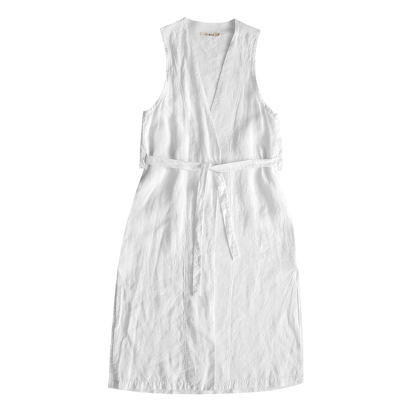Ali Golden Linen Waist Coat - White