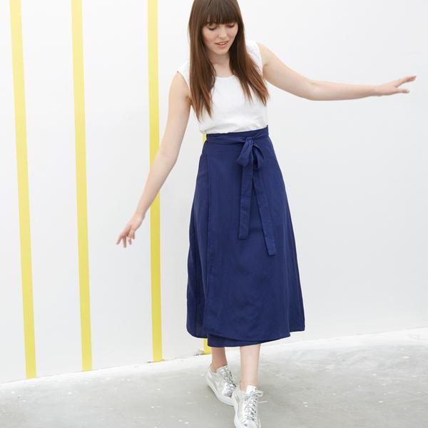 Ali Golden Wrap Skirt - Blue