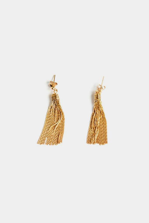 Jorge Morales Gold Plated Brass Fringe Earrings
