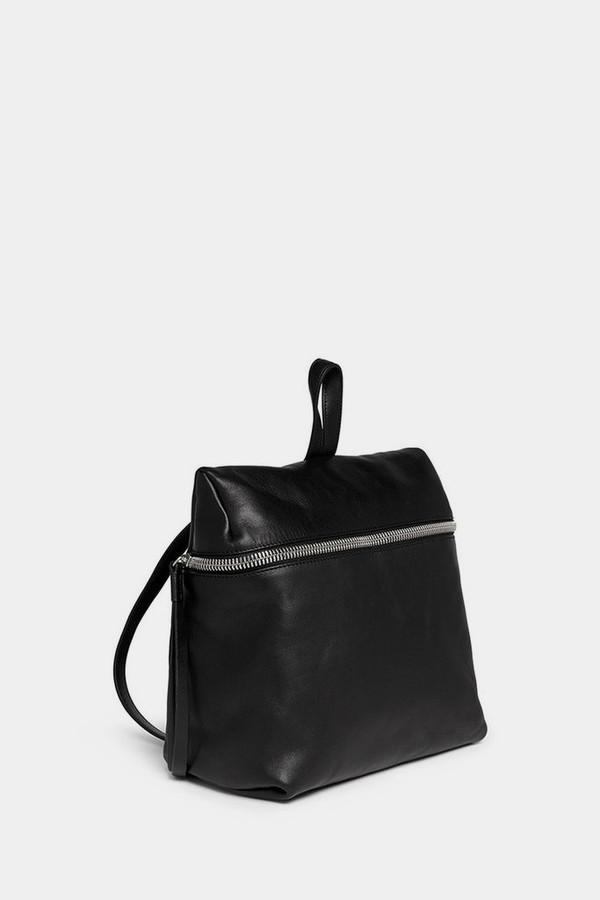 Kara Black Smooth Leather Backpack