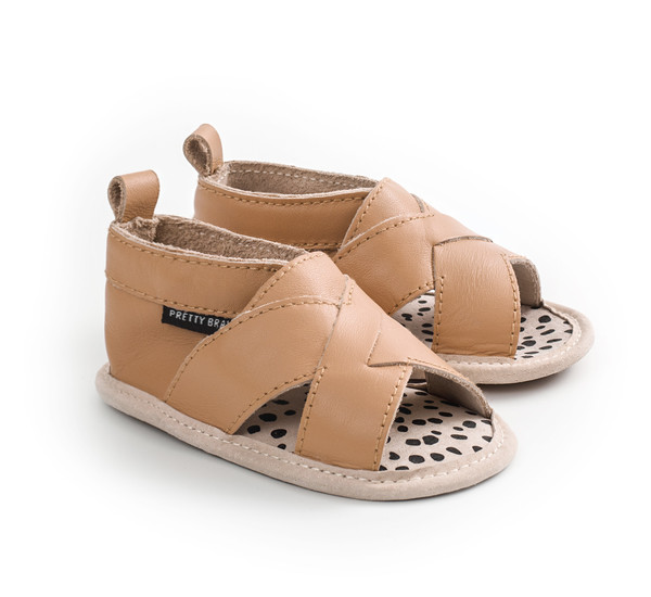 Pretty Brave Fringe Cross-Over Sandal Tan