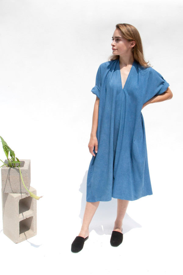 Miranda Bennett In-Stock: Muse Dress, Oversized, Silk Noil in Indigo