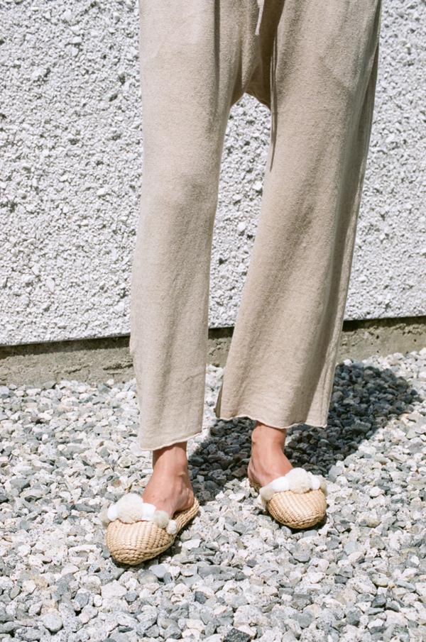 Folk Fortune Straw Slippers - wool pom pom