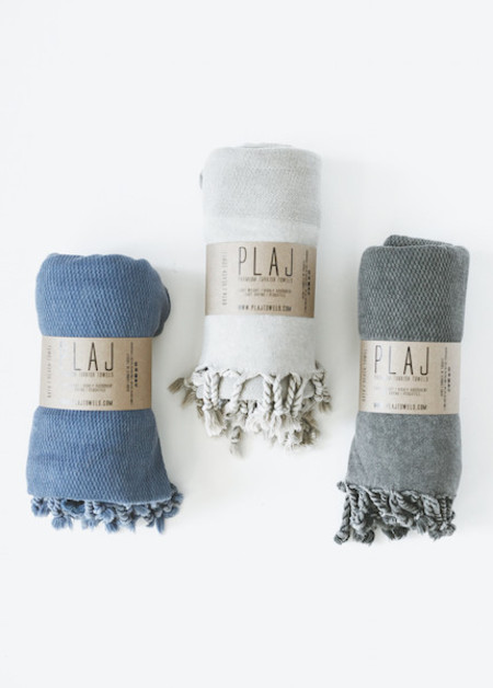 Plaj - Portland Stone Washed Towel in Denim, Light Grey or Black