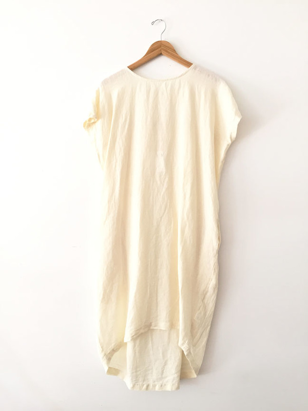 Black Crane Pleated Cocoon Dress - Cream