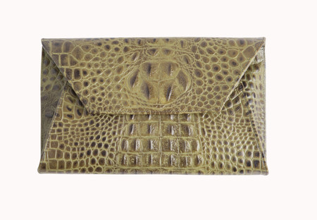 OLIVEVE cleo envelope clutch in olive hornback embossed cow leather