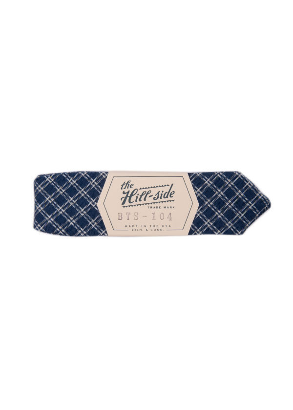 The Hill-Side - Indigo Double Windowpane Bow Tie