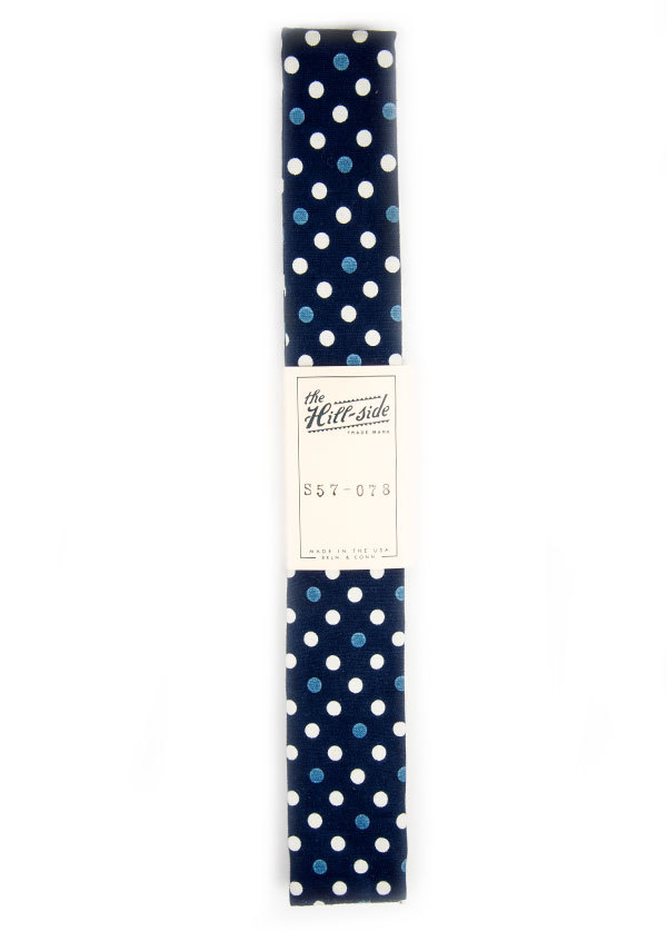 The Hill-Side - Selvedge Polka Dot Half and Full-Discharge Print Tie in Indigo / White