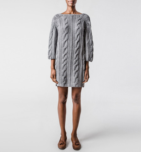 Ryan Roche V-Back Sweater Gray