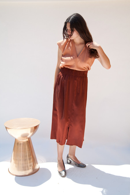 Miranda Bennett In-Stock: Paper Bag Skirt, Silk Charmeuse in Claret